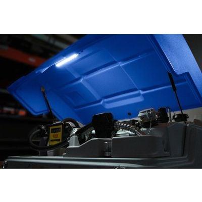 Klappdeckel blau, mit Gasdruckfedern und Montagezubehör