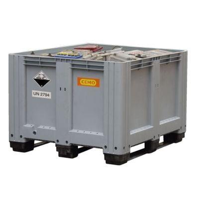 Altbatterie-Box 610 l, grau, mit 3 Auflagekufen