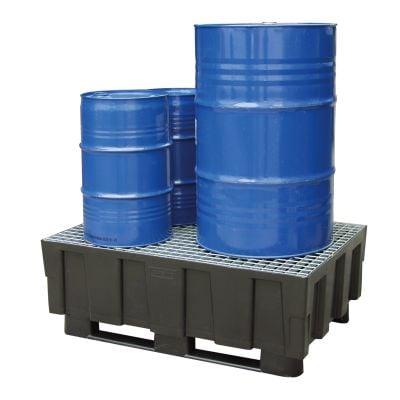 Euro-PE-Auffangwannen 250 Liter mit 2 Kufen für zwei 200 Liter Fässer