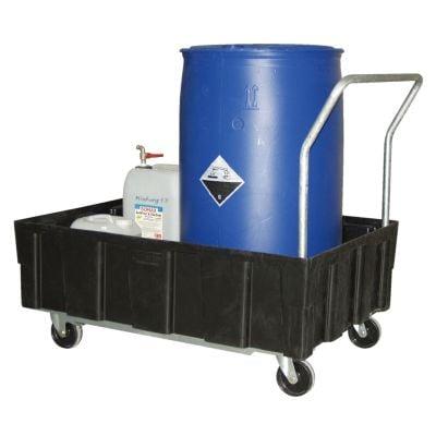Euro-PE-Auffangwannen 250 Liter für zwei 200 Liter Fässer mit Lenk- und Bockrollen